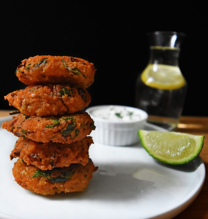 Red lentil fritters Piyaju. Indian Snack